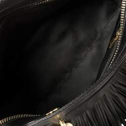 Tod's Black Leather Sella Fringe Satchel