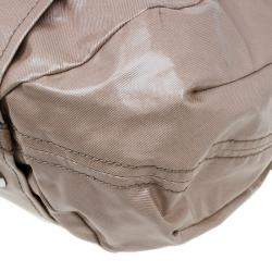 Tod's Metallic Beige Coated Canvas G-Bag Easy Sacca Grande Tote