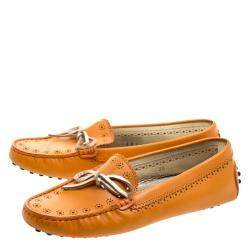 Tod's Orange Perforated Leather Bow Loafers Size 36