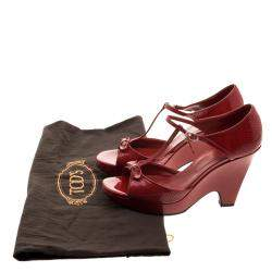 Tod's Maroon Patent Leather T Strap Wedges Size 40