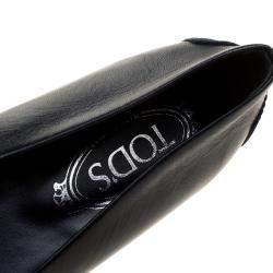 Tod's Navy Blue Leather Cap Toe Ballet Flats Size 36
