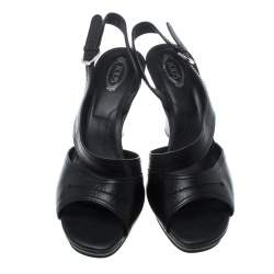 Tod's Black Leather Open Toe Platform Sandals Size 40.5