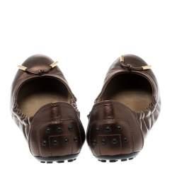 Tod's Metallic Bronze Leather Bow Scrunch Ballet Flats 37
