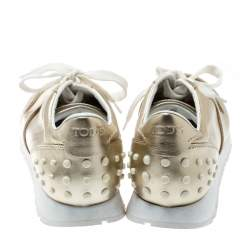 Tod's Metallic Gold Leather Allaciata Studded Lace Up Sneakers Size 39