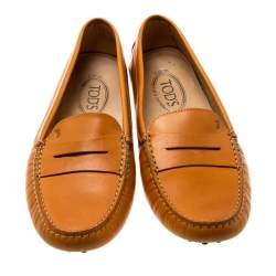 Tod's Alphonso Yellow Leather Penny Loafers Size 41.5