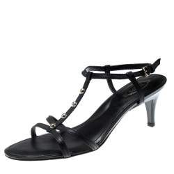 Tod's Black Leather T-Strap Sandals Size 38