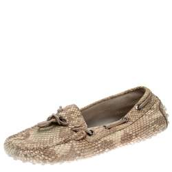 Tod's Beige Python Leather Bow Loafers Size 35.5