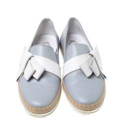 Tod's Light Grey Leather Bow Detail Espadrille Trim Loafers Size 40