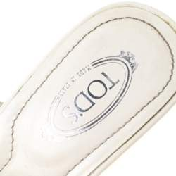 Tod's White Leather Buckle Accented Sandals Size 36