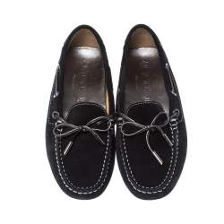 Tods Black Suede Leather Bow Loafers Size 35
