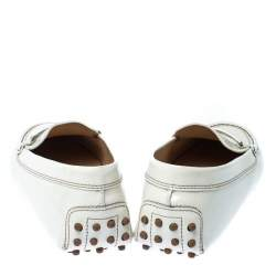 Tod's White Patent Leather Penny Loafers Size 39