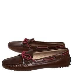 حذاء لوفرز تودز غومينو دريفينغ جلد بني مقاس 38