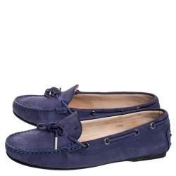 """حذاء لوفرز تودز """"غومينو"""" مزين بفيونكة جلد نوبوك بنفسجي مقاس 38.5"""