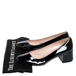 Tod's Black Patent Leather Block Heel Pumps Size 39