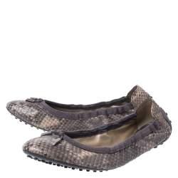 Tod's Grey/Beige Python and Suede Scrunch Ballerina Flats Size 41.5