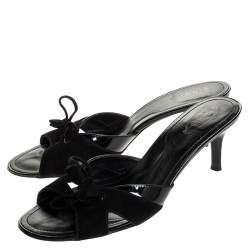 Tod's Black Suede and Patent Leather Slide Sandals Size 40