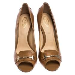 Tod's Light Brown Leather Gommini Peep Toe Pumps Size 39