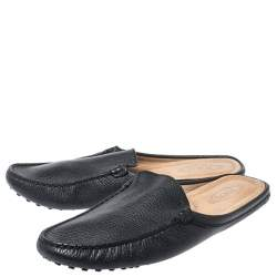 Tod's Black Leather Pellame Flat Loafer Mules Size 37