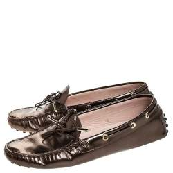 Tod's Metallic Leather Bow Slip On Loafers Size 38