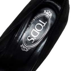 Tod's Black Suede And Patent Leather Penny Loafer Pumps Size 38.5