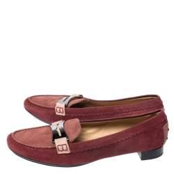 حذاء لوفرز تودز بيني سويدي أحمر مقاس 40