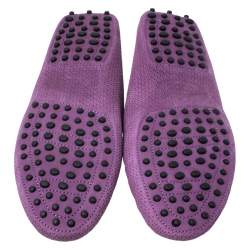 Tod's Purple Perforated Suede Loafers Size 40