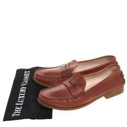 حذاء لوفرز تودز بيني سليب أون جلد بني مقاس 40