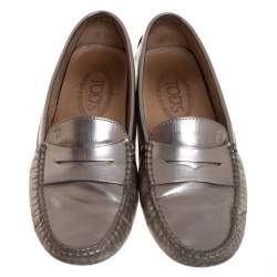 Tod's Metallic Leather Penny Loafers Size 36.5
