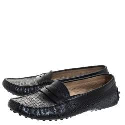 Tod's Black Perforated Leather Penny Slip On Loafers Size 37