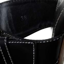 Tod's Black Leather Buckle Detail Slide Sandals Size 38