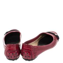 Tod's Dark Red Brogue Patent Leather Ballet Flats Size 38