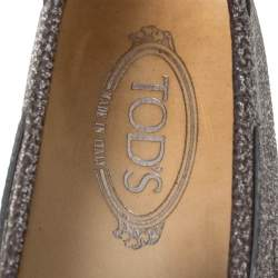 Tod's Grey/Silver Glitter Leather Bow Detail Driving Loafers Size 37.5