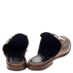 Tod's Metallic Bronze Leather Double T Mules Size 37.5