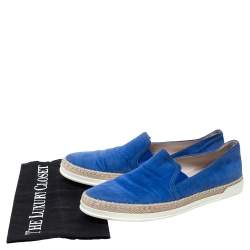 Tod's Blue Suede Espadrille Loafers Size 38.5