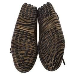 """حذاء لوفرز تودز """"غومينو دريفينغ"""" سويدي مطبوع نقشة الحمار الوحشي ذهبي ميتاليك مقاس 37"""