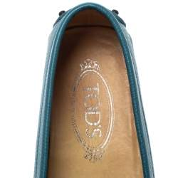 Tod's Blue Leather Gommino Slip On Loafers Size 37.5