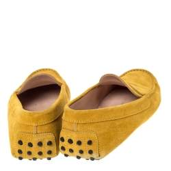 Tod's Yellow Suede Penny Loafers Size 39.5