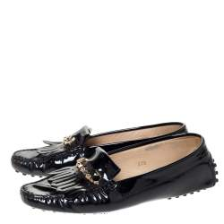 Tod's Black Patent Leather Fringe Loafers Size 37.5