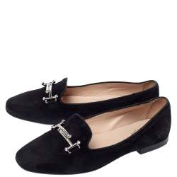 Tod's Black Suede Leather Double T Smoking  Slippers Size 38.5