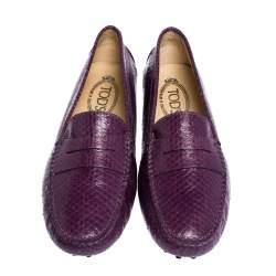 Tod's Purple Python Penny Loafers Size 36.5