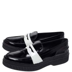 Tod's Black/White Leather And Patent Platform Penny Loafers Size 41
