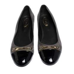 Tod's Grey/Black Suede and Patent Leather Cap Toe Buckle Ballet Flats Size 39.5