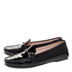 Tod's Black Patent Leather Double T Loafers Size 39.5