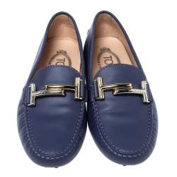 Tod's Blue Leather Double T Loafers Size 35.5