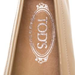Tod's Beige Patent Leather Penny Loafers Size 38.5