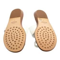 Tod's White Leather Logo Embellished Toe Ring Flat Sandals Size 41