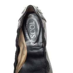 Tod's Black Patent And Metallic Grey Snakeskin Embossed Buckle Detail Ballet Flats Size 38.5