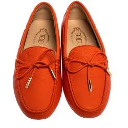 Tod's Orange Leather Gommino Bow Loafers Size 37.5