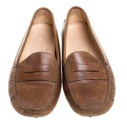 Tod's Brown Leather Penny Slip On Loafers Size 35
