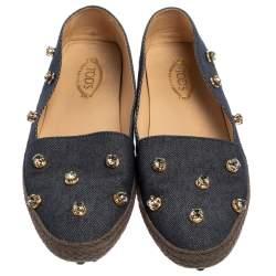 Tod's Blue Denim Fabric Crystal Embellished  Espadrille Loafers Size 38.5